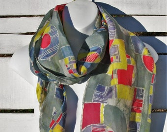 Mod Silk Scarf // Hand Painted Batik Scarf // Extra Large Luxury Shawl // Shoulder Wrap // Wearable Art // Unique Gift