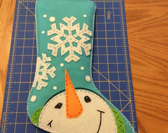 Finished Dimensions Christmas Stocking Snowman Catching Snowflakes 19""