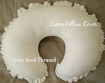 Linen Ruffled Boppy Cover, Nursing Pillow Cover. Candlelight Warm White Linen.