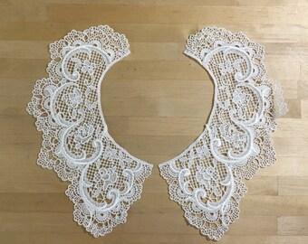 White Lace Collar Applique. in white Venice Lace for Bridal, Straps, Lolita, Sweaters, Lace Necklaces, Costumes