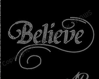 Believe rhinestone template for cricut, Scan n cut, Sillouette, rhinestone pattern DIY 16-12