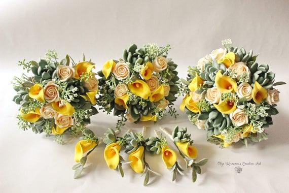 Grun Gelb Hochzeits Set Hochzeit Blumenstrauss Saftig Etsy