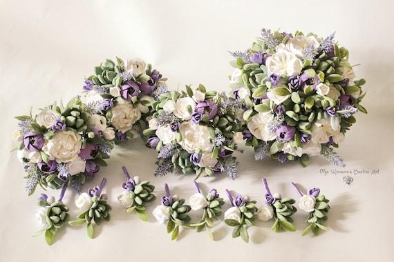 Bouquet Sposa Lavanda.White Purple Lavender Wedding Set Clay Wedding Bouquet Clay Etsy