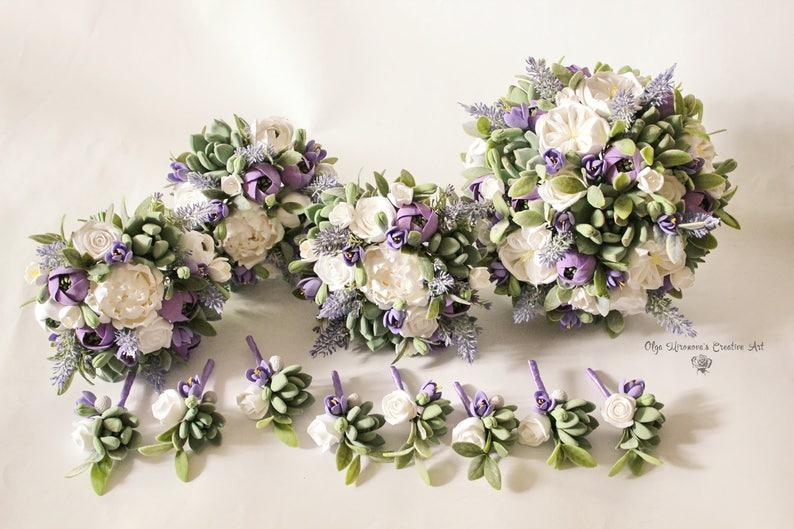 Bouquet Sposa Lavanda.Matrimonio Bianco Lavanda Viola Bouquet Da Sposa Di Argilla Impostare Boutonniere Succulente Di Argilla Cerimonia Nuziale Fiori Keepsake Mazzo