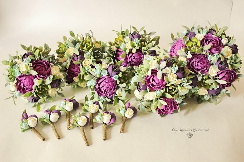 Lavender Purple wedding set Alternative wedding bouquet Succulents Bridal bouquet Woodland bouquet with Succulents