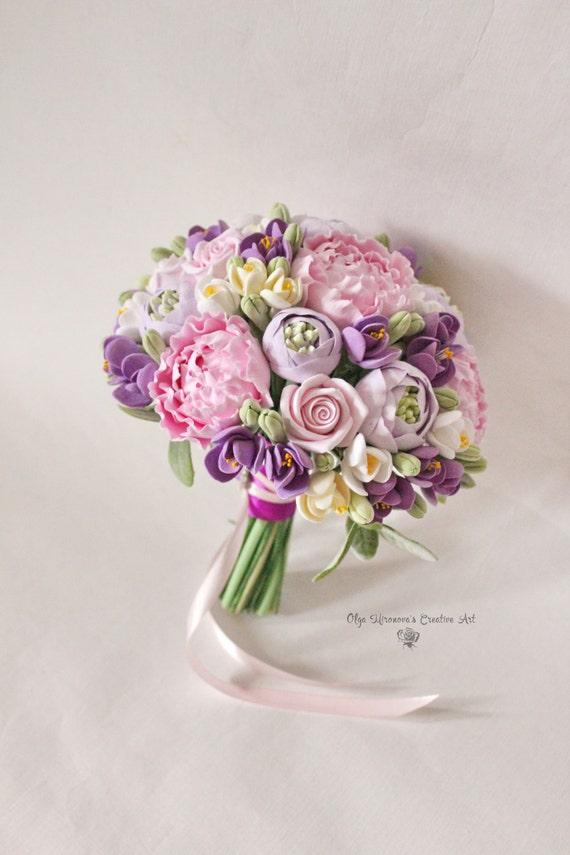 Hochzeit Braut-Ton-Blumen-Bouquet lila rosa romantischen | Etsy