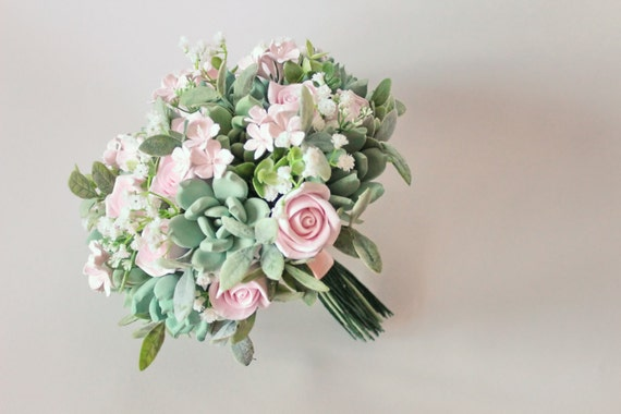 Wedding Bouquet Keepsake Succulent Bouquet With Roses And Etsy