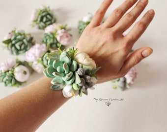 Succulent Corsage Bracelet Wedding flowers Groom boutonniere Succulent Bridesmaid corsage Coordinating wedding accessories Clay Flowers