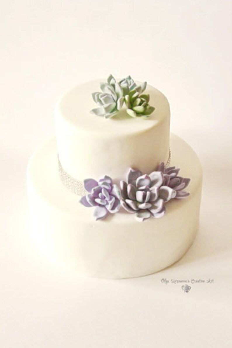 Purple green Succulent Cake Topper  Flower Cake Topper image 0