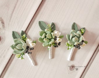 Wedding Boutonniere Grooms Button hole Rustic Groomsman Boutonniere Succulent Boutonniere Garden style boutonniere Clay flowers