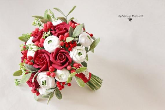Rot Weiss Alternative Hochzeit Bouquet Rot Brautstrauss Rote Etsy