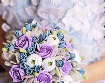 Purple wedding bouquet Beaded flowers bouquet Clay wedding bouquet Purple roses bridal bouquet Snow queen bouquet Purple bouquet