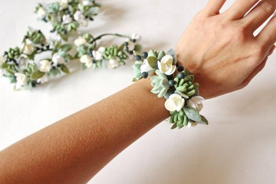 Saftige Corsage Armband Hochzeit Blumen Saftigen Brautjungfer Etsy
