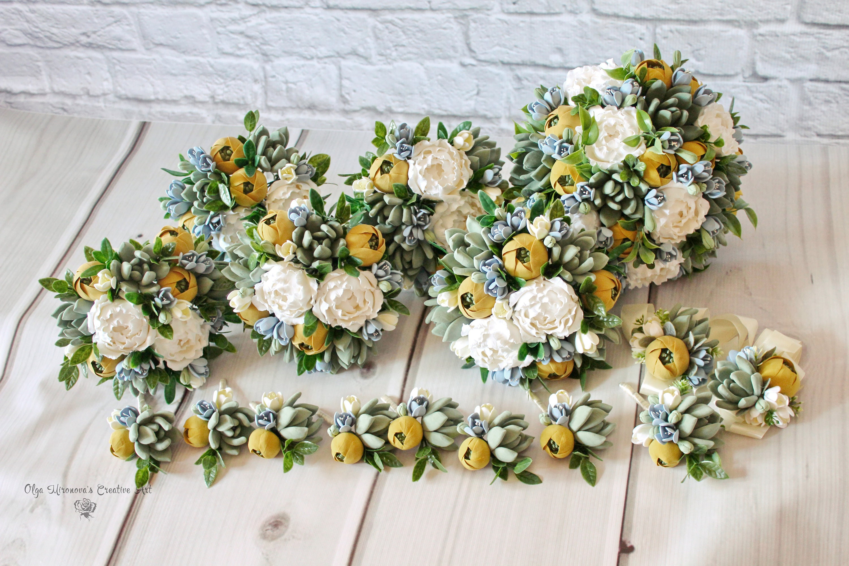 Mustard Yellow Bouquet Wedding Package Succulent Bouquet Etsy