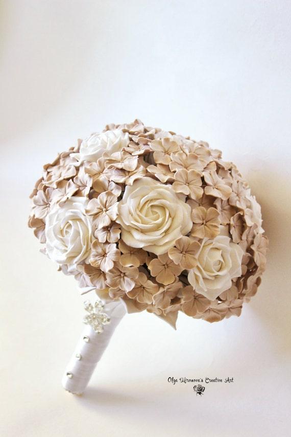 Ahnliche Artikel Wie Hochzeitsstrauss Beige Brautstrauss Rosen