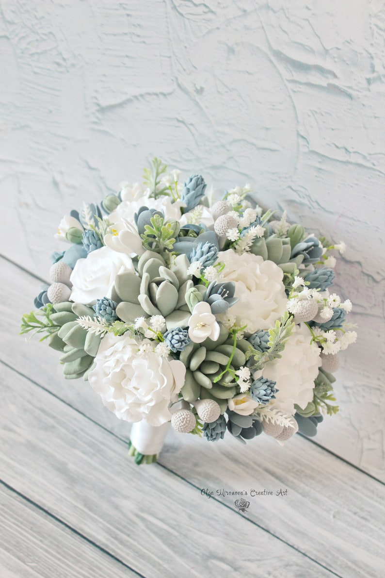 Dusty Blue Wedding Bouquet Sage Green Bouquet Succulent Etsy