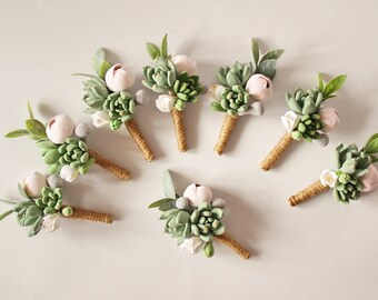 Big Wedding Boutonniere Grooms Button hole Rustic Groomsman Boutonniere Rustic Wedding boutonniere Succulent Boutonniere Clay flowers