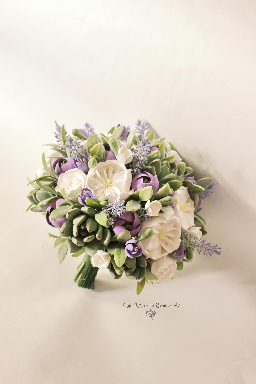 Alternative wedding bouquet white purple bridal bouquet etsy zoom izmirmasajfo
