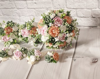 Peach Dahlia Pink peony wedding package Keepsake bridal bouquet Succulent bouquet Clay flowers Peach dahlia bouquet Peach Wedding Package