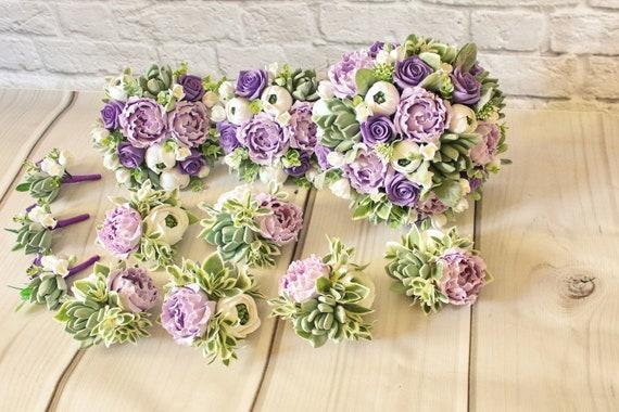 Lila Grun Hochzeit Set Lila Hochzeit Blumenstrauss Andenken Etsy