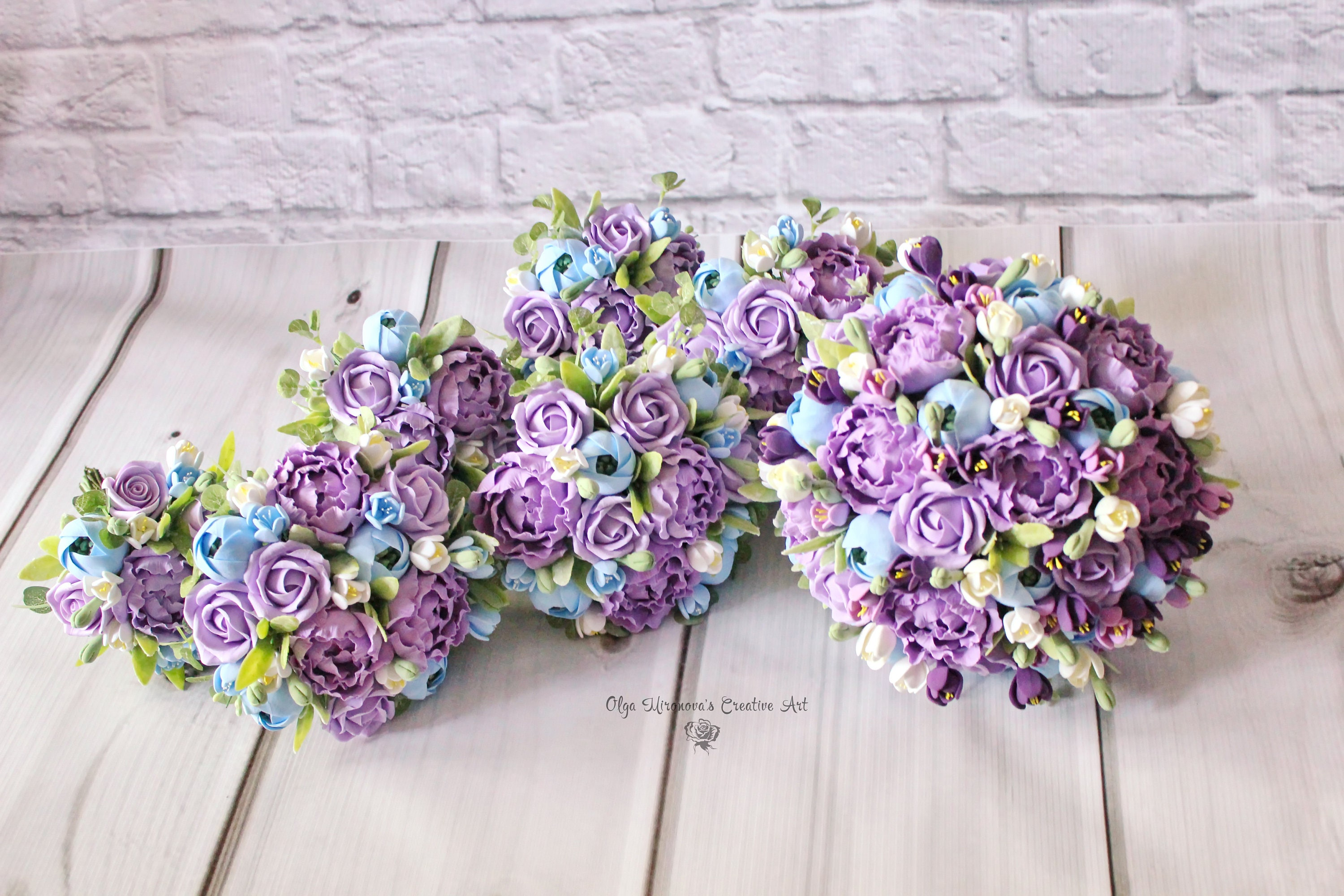 Sky Blue Purple Wedding Set Wedding Clay Bouquet Keepsake Etsy