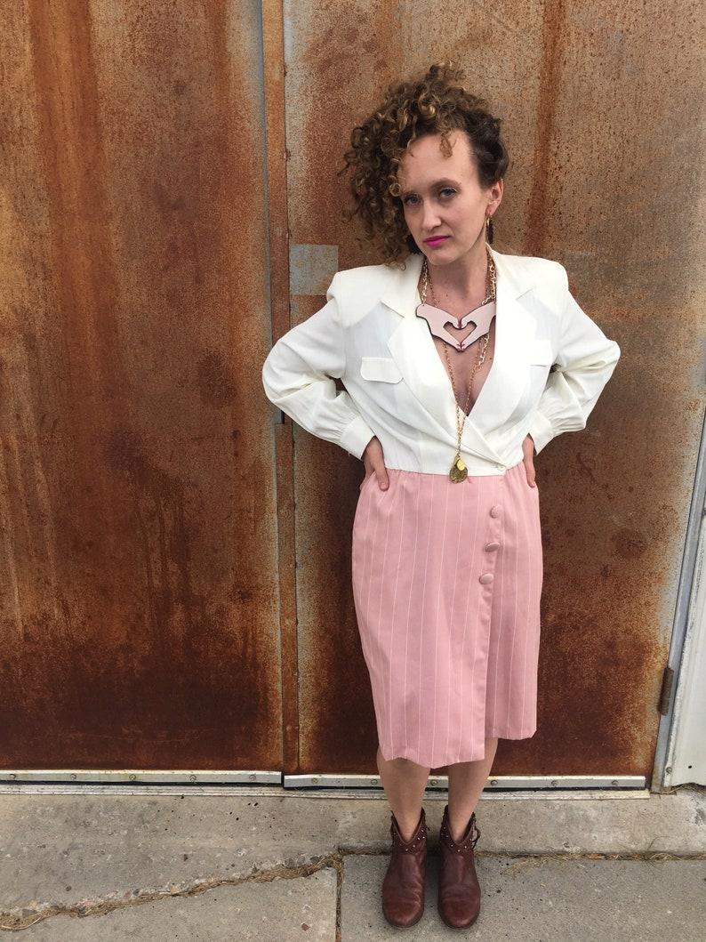 aa945142356f Candy Striper Dress / Blazer Dress / Business Suit / Pink | Etsy