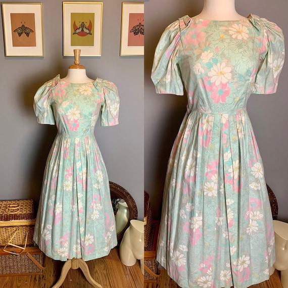 Vintage 1980s Lanz Petite Floral Party Dress • Vin