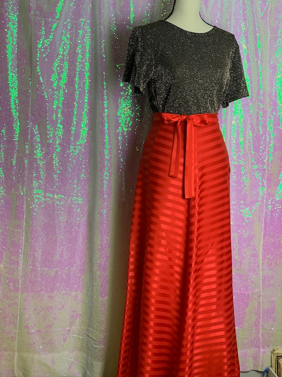 Red Silk Vintage Skirt • Vintage Silk Skirt • Red