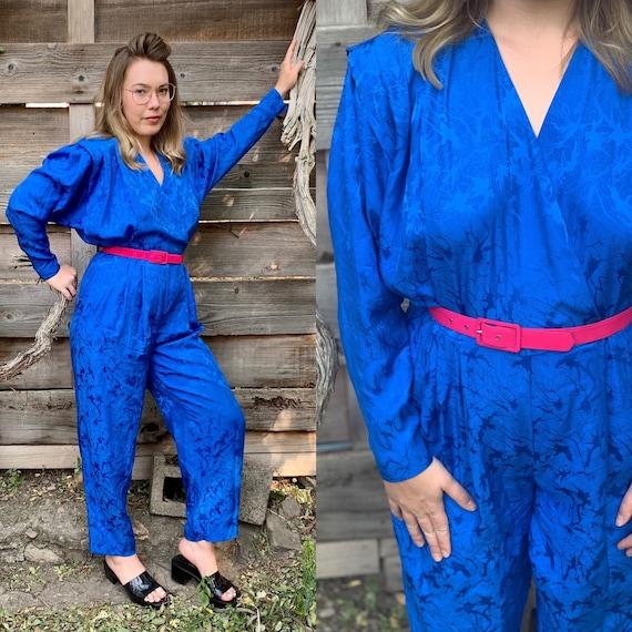 Vintage Jumpsuit • Vintage Silk Jumpsuit • Silk Pa