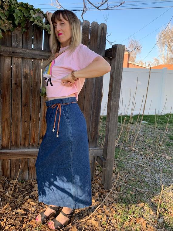 90s Vintage Denim Skirt • Lee Jean Skirt • Vintage