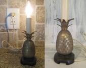 Vintage brass pineapple shape standing lamp, night lamp, desk lamp, table lamp lighting, bedroom lamp, retro lighting electric lamp working
