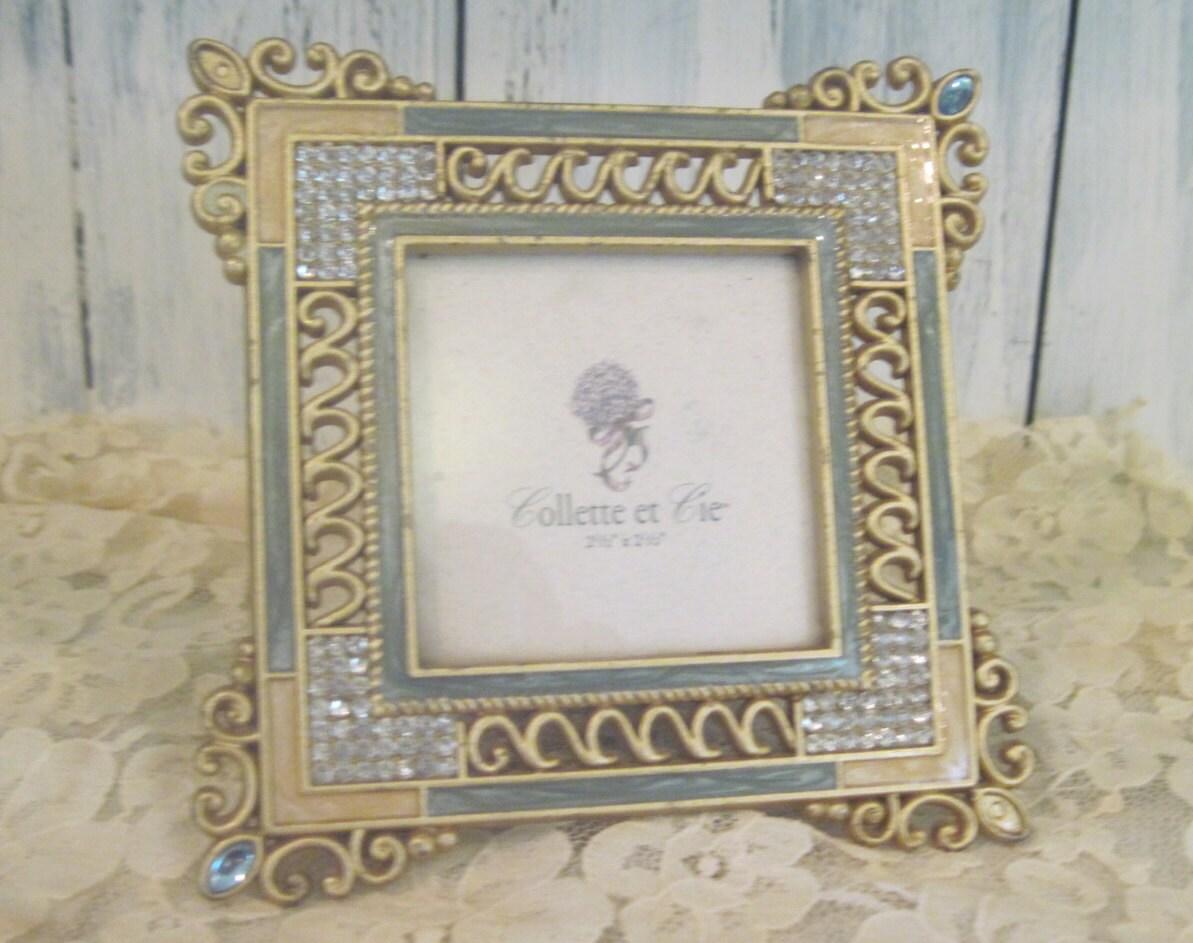 Diamantes de imitación de patrón floral oro verde Vintage adornado ...