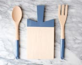 Paddle Cutting Board and Kitchen Utensil Set - Sailor Blue | Host Gift | Wood Cutting Board | Wood Spoon and Fork