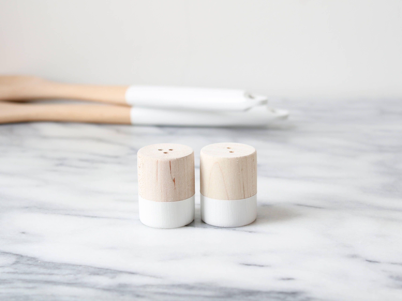 White Maple Wood Mini Salt And Pepper Shaker Set Wedding Etsy