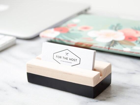 Holz Visitenkartenhalter Für Schreibtisch Schwarz Hand Bemalt Horizontale Oder Vertikale Visitenkarteninhaber Der Schreibtisch Der Sich In Der