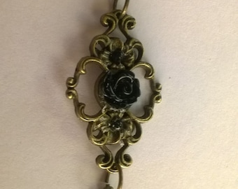 Black Rose Necklace with Dangling Charm