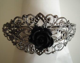 Black Rose Adjustable Bracelet