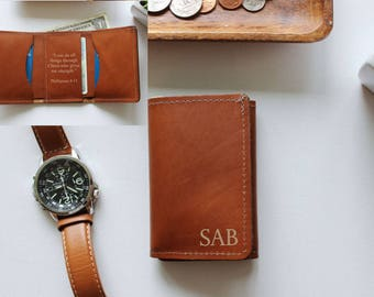 Christmas Gift For Him, Personalized Leather Wallet, Engraved, Trifold, Monogram Gift, Gift For Dad, Boyfriend Gift, Husband Gift, Mens Gift