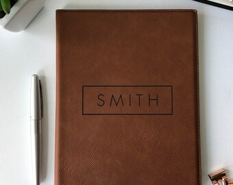 Personalized Leather Journal & iPad Case | Student Gifts | Embossed Corporate Gift With Business Logo