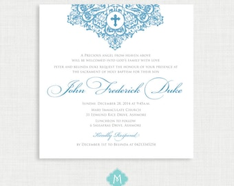 Printable Baptism Invitation Boy