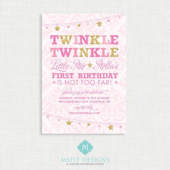 Twinkle Twinkle Little Star Birthday Invitations - Twinkle invitation- Party invite - Little Star Birthday - Printable digital DIY