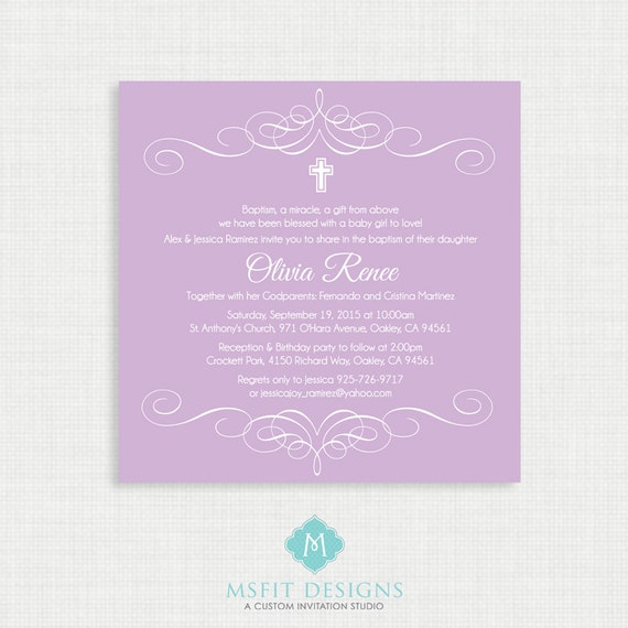 Printable Baptism Invitation- Elegant Flourish Baptism Invitations - Christening Invitation, Purple, DIY printable invitation