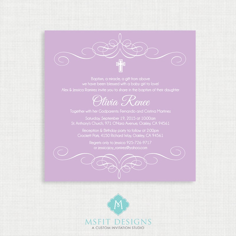 printable baptism invitation elegant flourish baptism invitations