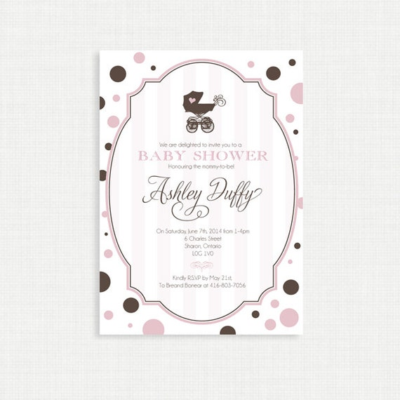 Printable Baby Shower Invitation-Girls Baby Shower Invitation - Modern, Pink, Brown, Pram, Polka Dots, Printable, Digital File