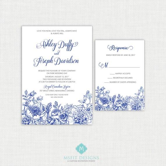 Peony Wedding invitation- RSVP Card Included- Printable Invitation