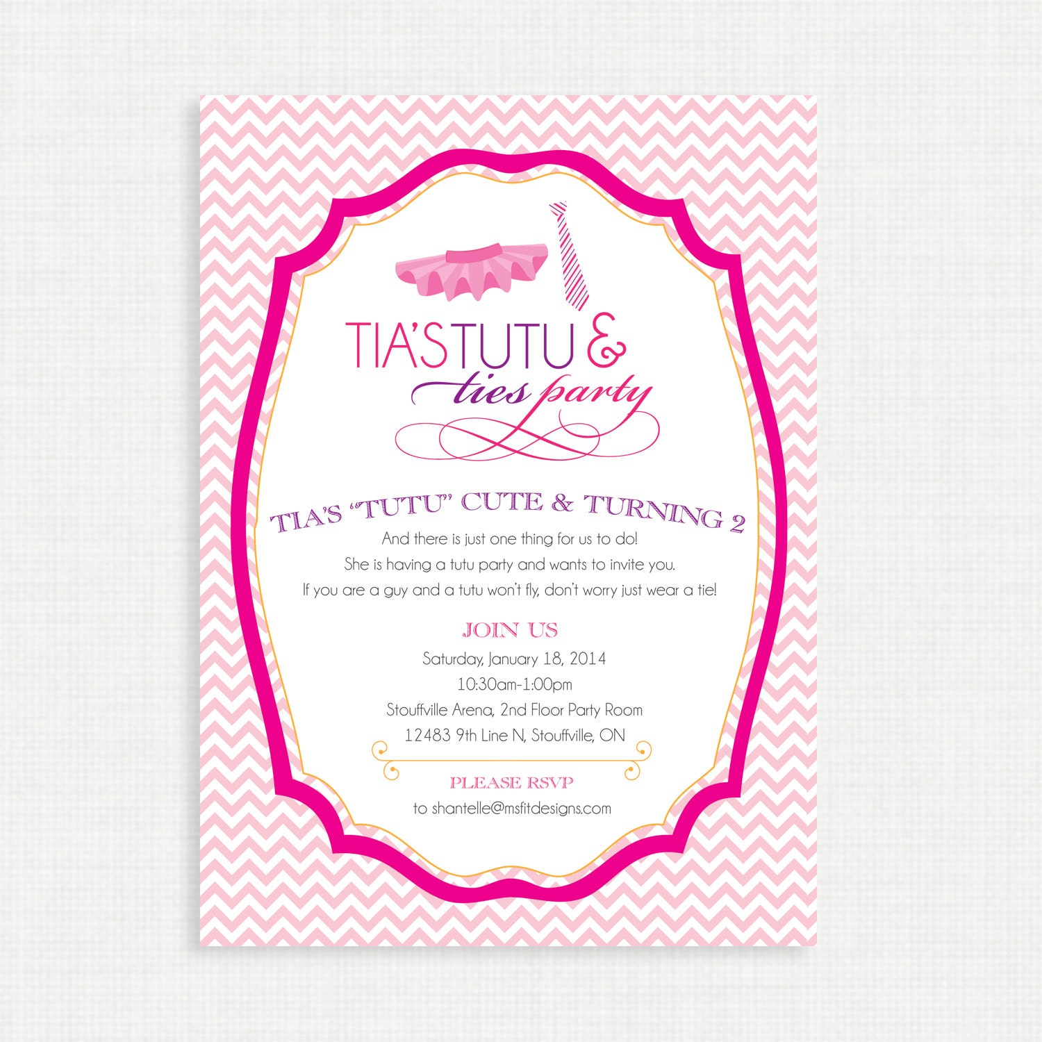 Printable Birthday Invitation- Tutu and Ties Birthday party ...