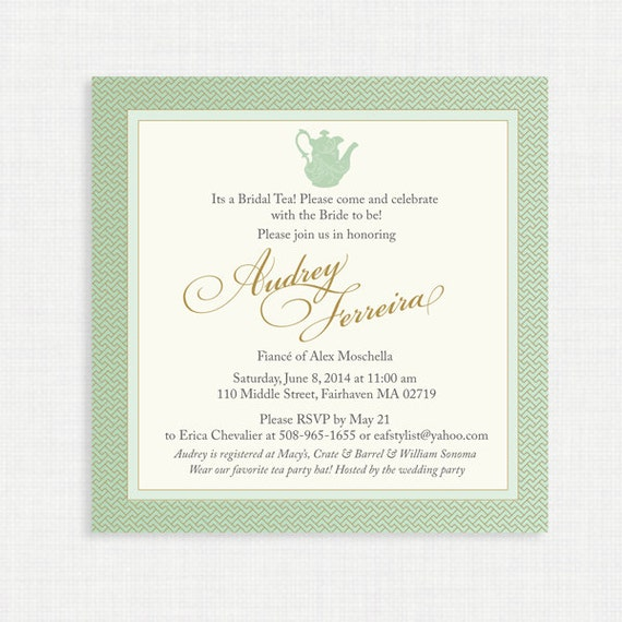 Printable Wedding Shower Invitation- Bridal Shower Tea Party Invitation Sets - Printable bridal tea invitation, Mint and Gold Bridal Shower
