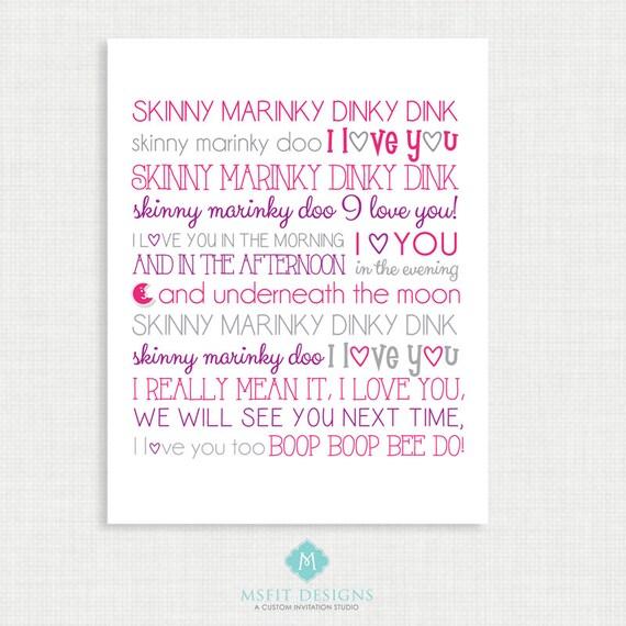 Nursery Wall Decor - Wall Art- Skinny Mirinky Dink - Nursery Rhyme - Girl Wall Decor  -11x14 instant Digital Download