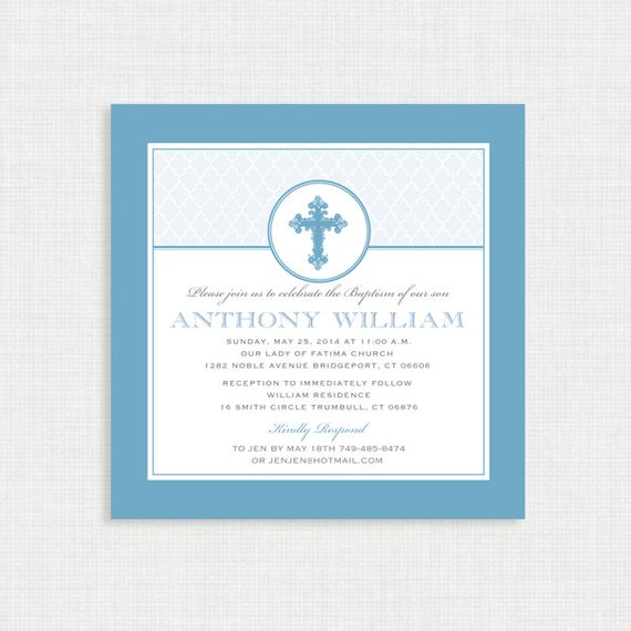Boy Baptism Invitation - DIY Printable Invite - Christening, First Communion, Dedication, Baby Blessing - Blue - Elegant Moroccan border