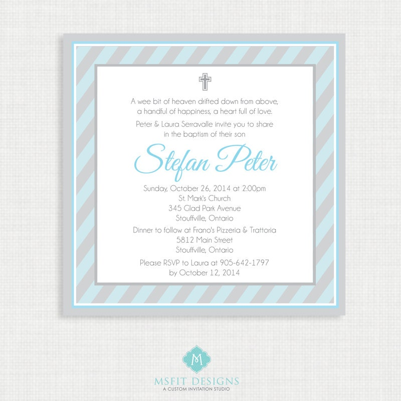 Printable Baptism Invitation Boys